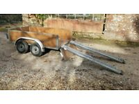 7ft x 4ft twin axle braked trailer w/ winch, electrics and ramps