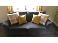 GORGEOUS THREE SEATER SOFA IN GRAPHITE GREY AND IN IMMACULATE CONDITION
