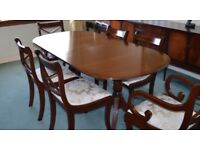 Greaves & Thomas teak dining table & chairs.