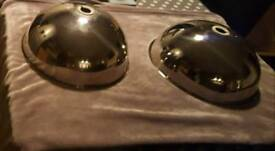 REDUCED 2 CHROME METAL DOME CEILING LIGHT FITTINGS AS NEW