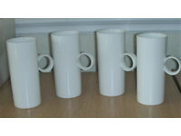 Four White Tall Skinny Tea/Coffee Mugs - unused