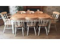 Solid Wood Farmhouse Dining Table With Eight Chairs