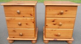 Beautiful Chunky Solid Pine Bedside Drawers For Sale.
