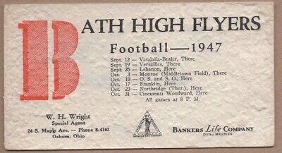 FAIRLY RARE 1947 Osborn OH Ohio Bath High Flyers Football Ink Blotter Fairborn