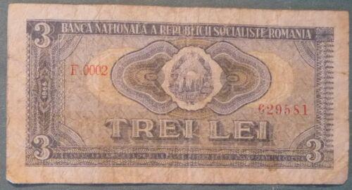 ROMANIA SCARCE  3 LEI RARE NOTE FROM 1966 , P 92