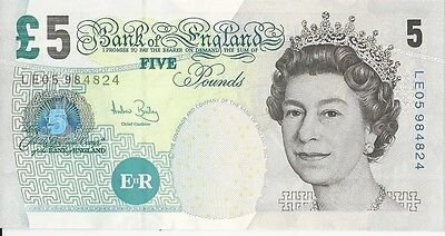 BRITISH FIVE POUNDS RARE BANKNOTE REAL CURRENCY OUT OF CIRCULATION