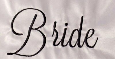 White-Bride Title Embroidered Robe-Bridal Party Robes-Factory Seconds-Cheap - Inexpensive Satin Robes