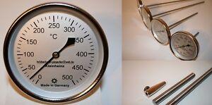 500°C Thermometer für Steinbackofen Holzbackofen E-Ofen Pizzaofen 100 mm Schaft