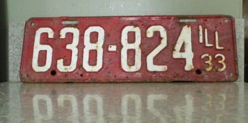 Antique/Vintage 1933 Illinois License Plate - 638-824
