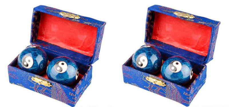 2 SETS CHINESE HEALTH EXERCISE STRESS BAODING BALLS RELAXATION THERAPY YIN YANG