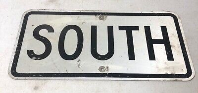 "Old Vintage Retired Texas White ""South"" Highway Street Sign 24 X 12"" Highway Street Sign"
