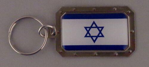 Israel National Flag Metal Key Ring DOMED IMAGE Star of David