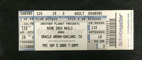 NINE INCH NAILS Full CONCERT TICKET STUB Crease Free - September 5, 2008