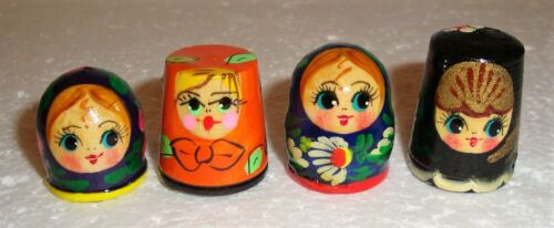 Beautiful Russian Wooden Hand painted SET OF FOUR THIMBLES ~ NEW