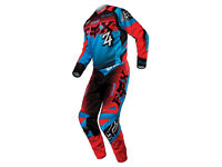 Mens Fox 180 Imperial Motocross Kit Blue+Red Jersey & Trousers Padded Protection Racing Size Medium