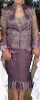 Beautiful beaded lace lilac mother of the bride Dress/jacket S16