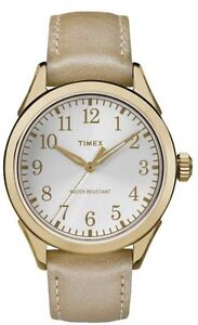 Women's Leather Gold Timex Watch