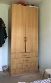 Tall wardrobe with rail, 4 drawers and 2 shelves