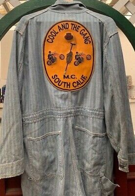 Vintage 70s Cool and the Gang Motorcycle Patch Coveralls Chainstitch Workwear