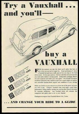 1937 Vauxhall saloon sedan car illustrated vintage UK ad