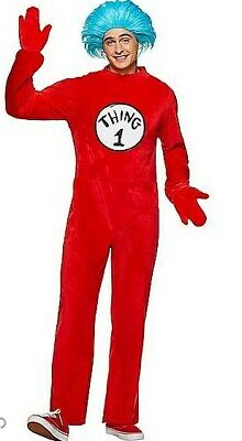 Dr. Seuss Adult Thing One Piece Hooded Halloween Costume Suit Red Size L NEW $65
