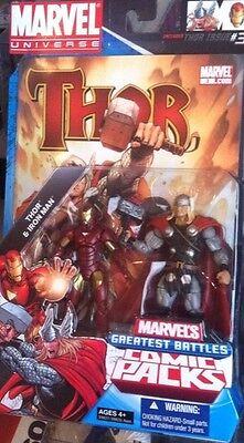 Marvel Universe Greatest Battles Figures 2-Pack w/ Comic -Thor Vs Iron Man  (Ironman Vs Thor)