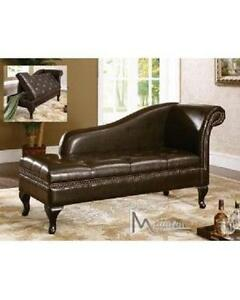 Leather chaise with storage