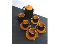 Prinknash Black & Caramel coffee/tea pot, milk jug small cups and sauces.