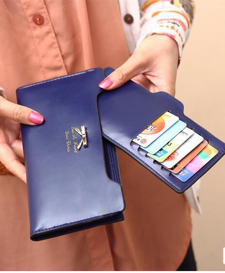 Women Cute Bow Long Leather Thin Wallet Purse Multi ID Credit Card Holder Gift Clothing, Shoes & Accessories