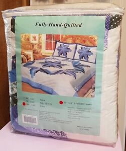 QUILT SET - GRAPE - HAND QUILTED - BRAND NEW