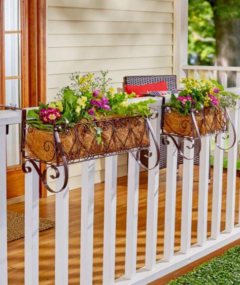 Porch Railing Planters Pot Outdoor Rail Fence Box Hearts Met