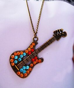 New-Retro-Vintage-colorful-Crystal-Guitar-Pendant-Necklace