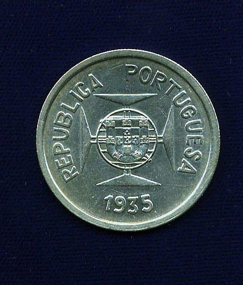 INDIA  PORTUGUESE  1935   SILVER  1 RUPIA  COIN,  BRILLIANT UNCIRCULATED