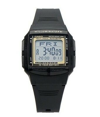 Casio Men's Black LED Light Digital Display Data Bank Wrist Watch DB-36-9AVDF