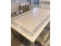 Limed oak tiled top kitchen table with 5 chairs
