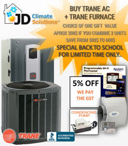 New Trane Furnace and Trane AC installed - We pay the GST!