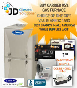 New Carrier Furnace $2750 installed (we also repair & replace)