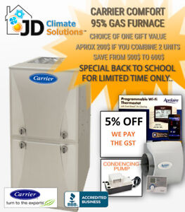 New Carrier Furnace 2950$ installed - We pay the GST!