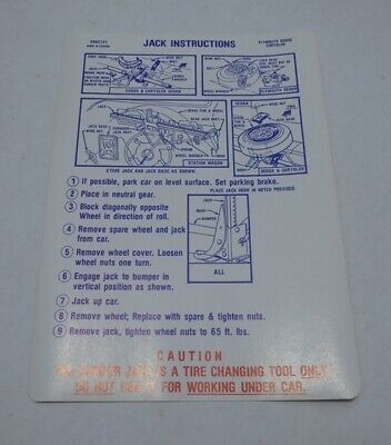 Mopar 71 C Body C/P/D Jack Instructions Decal NEW 2962721 DD0451