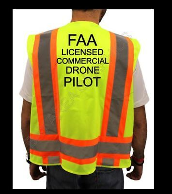 FAA DRONE PILOT HIGH VISIBILITY SAFETY YELLOW VEST BLACK DESIGN   S-M-L-XL-2XL *