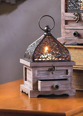 rustic brown wood & metal cage Moroccan Candle holder Lantern lamp trinket box