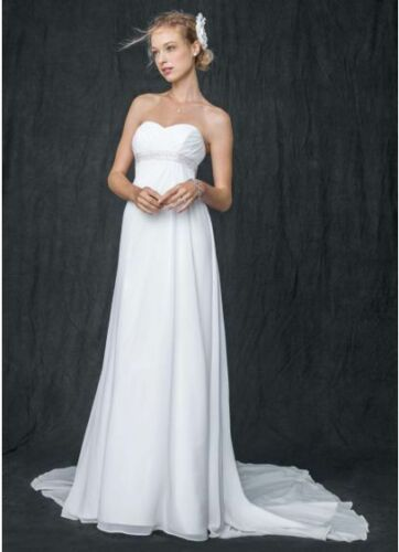 Strapless Size 4 Wedding Gown chiffon with veil David