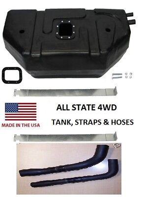 Jeep YJ Wrangler 20 Gallon Poly Plastic Fuel Gas Tank With 2 Hoses 1987-1995