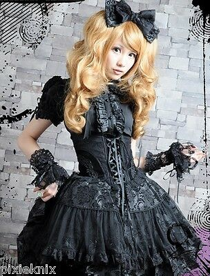 RQ-BL High Waisted Gothic Lolita Skirt & Headband Black S 21113