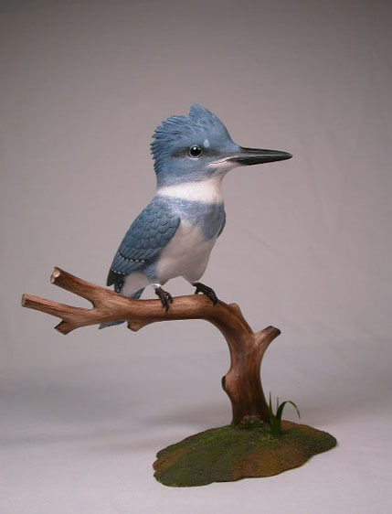 """9-1/4"""" Life Sized Belted Kingfisher Original/Birdhug"""