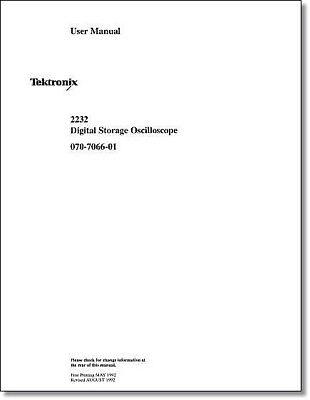 Tektronix 2232 User Manual Comb Bound Protective Plastic Covers