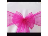 FOR SALE 100 FUCHSIA HOT PINK Organza Chair Sashes BRAND NEW