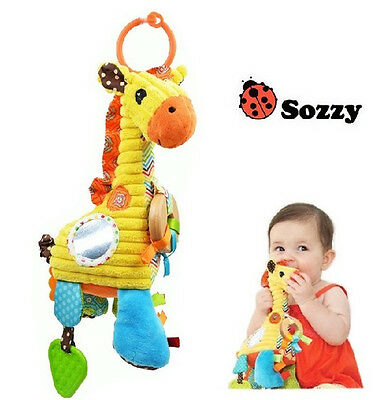 - sozzy giraffe baby placate toy rattle multi-purpose pull music playtime pal 1pc