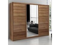 BLACK WALNUT AND WHITE--BRAND NEW WHITE MIRRORED IN MIDDLE DOUBLE DOOR BERLIN WARDROBE GET NOW