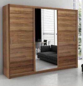 Brand New Chicago 2 Door Sliding Wardrobe with Mirror, Shelves, Hanging Rails in White Black Walnut